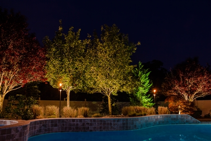 View larger photo of: Backyard outdoor pool lighting NJ