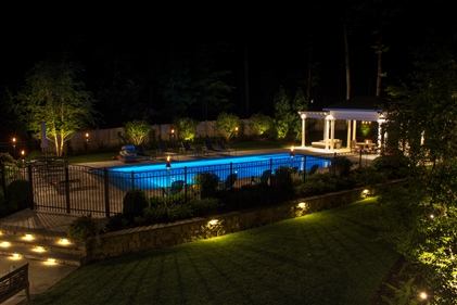 View larger photo of: Backyard pool area lighting New Jersey