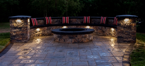 View larger photo of: Stone Seating Area Undercap Lighting